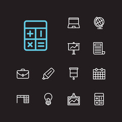 Work icons set. Presentation board and work icons with calendar, case and lightbulb. Set of drawing for web app logo UI design.
