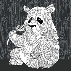 Panda bear in black and white line art style. Cooring page.