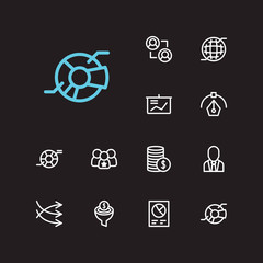 Trade icons set. Business marketing and trade icons with business meeting, pie chart and finance. Set of sale for web app logo UI design.