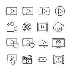 Vector image set of video line icons.