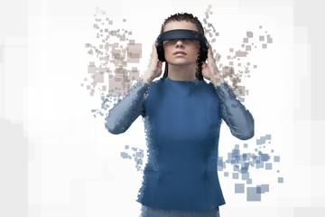 Digital composite of woman with a virtual reality simulator