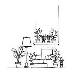 living room with houseplants scene vector illustration design