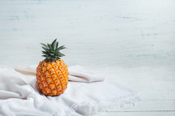 fresh pineapple On the white and white wood