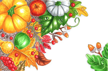 autumn vegetables and leaves hand-drawnillustration with copy space