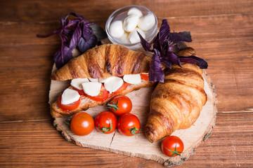 fresh sandwich with mozarella