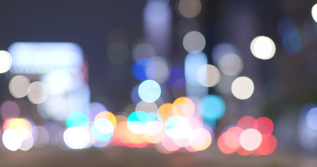 Blur city view of Taipei city at night