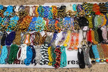 Chennai, India. Beads on flea market in Chennai.