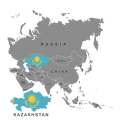 Territory of Kazakhstan on Asia continent. Flag of Kazakhstan. Vector illustration