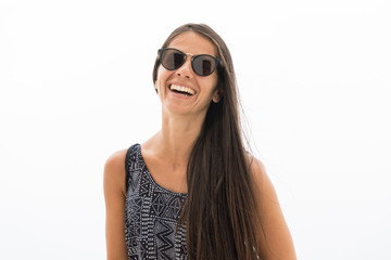 Smiling woman portrait with sunglasses