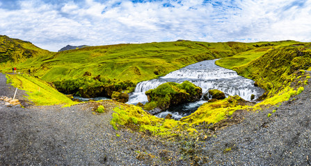 Panoramic view of beautiful, high and huge Skogarfoss waterfall on South Iceland