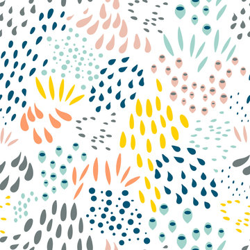 Geometric vector seamless pattern in retro style . Modern  background with circles, lines and other simple shapes.