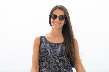 Smiling woman portrait with sunglasses