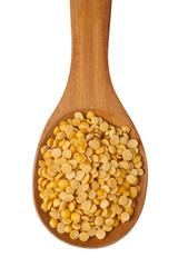 Toor dal in a wooden spoon