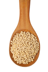 White urad in a wooden spoon