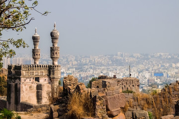 Hyderabad, India. View of Hyderabad cityscape from Golkonda fort walls. Fototapete