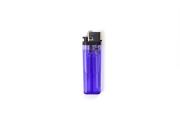 Purple plastic gas lighter isolated on white background. Closeup shot
