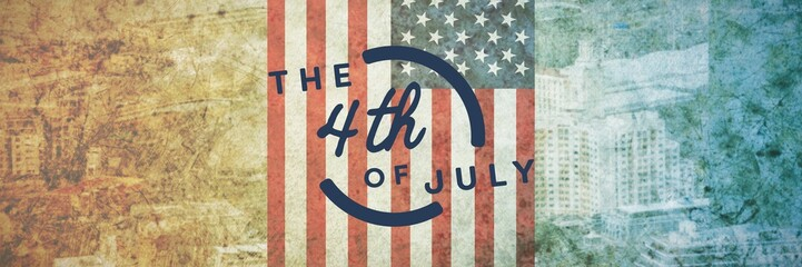 Composite image of colorful happy 4th of july text against white