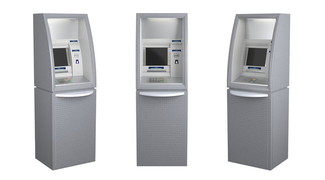 Set of three atm machines isolated on white