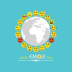 World emoji day greeting card design