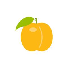 Orange peach. flat style. isolated on white background