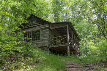 Old abandoned log cabin in the Great Smoky Mountains National Park
