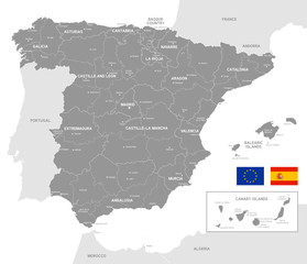 Grey Vector Political Map of Spain