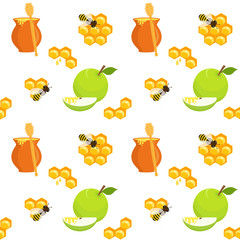Honey pots, apples and honeycomb seamless pattern