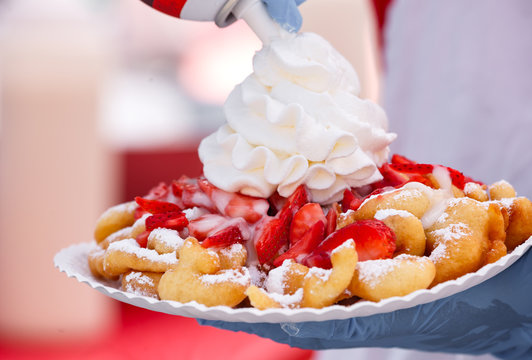 Funnel Cake with Whipped Cream