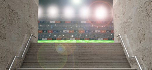 Sports stadium tunnel. Marble stairs, entrance to the soccer football field. 3d illustration