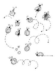 Ladybugs vector set isolated on white background