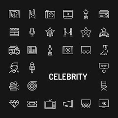 Celebrity & Superstars Simple Line Icon Set