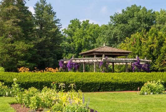Pavilion in Elizabeth Park perennial garden