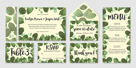 Wedding invitation frame set; flowers, leaves, watercolor. Sketched wreath, floral and herbs garland with green, greenery color. Handdrawn Vector Watercolour style