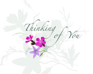 Thinking of You - summer greeting card. Hand drawn realistic vector illustration with  meadow.
