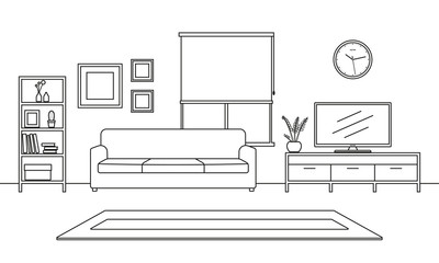 Living room interior outline sketch. Line style furniture: sofa, bookshelf, TV shelf, flowerpot, pictures on the wall, carpet. Vector illustration