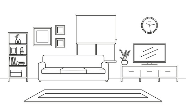 Living room interior outline sketch. Line style furniture: sofa, bookshelf, TV shelf, flowerpot, pictures on the wall, carpet. Vector illustration