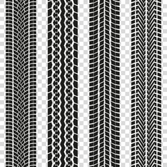 Tire track or tyre tread isolated on the transparent background. Car tire print pattern collection. Vector illustration.