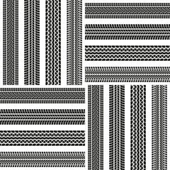 Tire track or tyre tread seamless background. Car tire print pattern. Vector illustration.