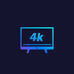 4K tv, video streaming vector icon