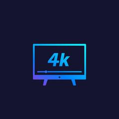 4K tv, video streaming vector icon