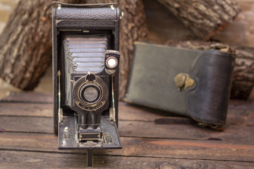 Close up shot of a antique 1918 photography film camera, vintage concept.