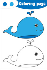 Whale in cartoon style, coloring page, education paper game for the development of children, kids preschool activity, printable worksheet, vector illustration