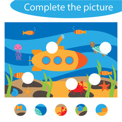 Complete the puzzle and find the missing parts of the picture, underwater,  fun education game for children, preschool worksheet activity for kids, task for the development of logical thinking, vector