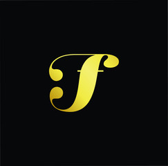 Abstract letter JF FJ. minimal logo design template. Vector letter logo with gold and black color.
