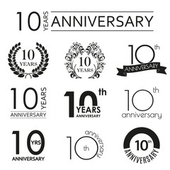 10 years anniversary icon set. 10th anniversary celebration logo. Design elements for birthday, invitation, wedding jubilee. Vector illustration.