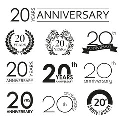 20 years anniversary icon set. 20th anniversary celebration logo. Design elements for birthday, invitation, wedding jubilee. Vector illustration.
