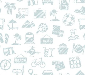 Travel, vacation, Hiking, leisure, seamless pattern, pencil shading, white, vector. Different types of holidays and ways of travelling. Gray drawings on a white background.