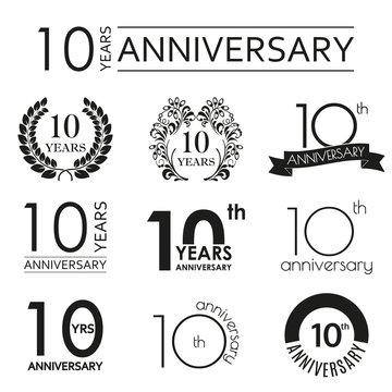 10 years anniversary icon set. 10th anniversary celebration logo. Design elements for birthday, invitation, wedding jubilee. Vector illustration.