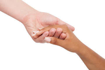 Holding hands couple of a mixed race on white background.