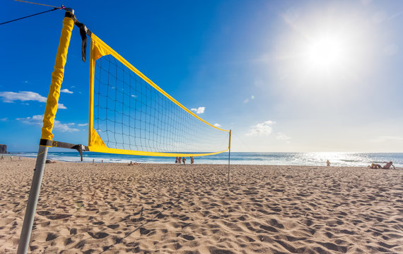 filet de beach volley sur plage des vacances, Boucan Canot, île de la Réunion